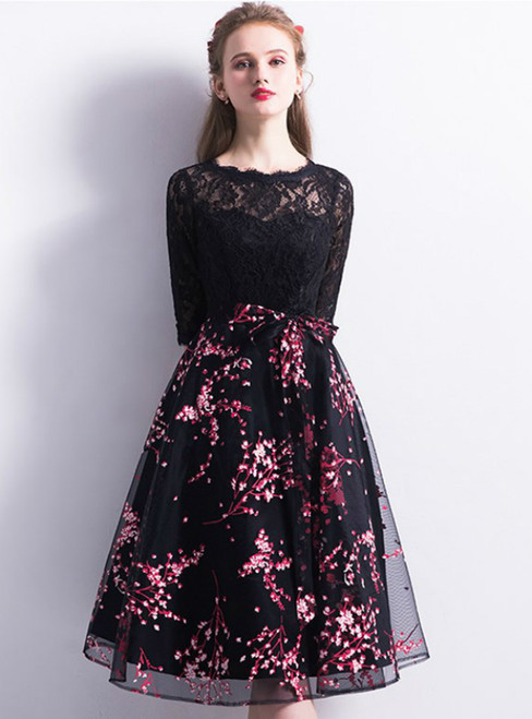 In Stock:Ship in 48 hours Black Half Sleeve Print Homecoming Dress