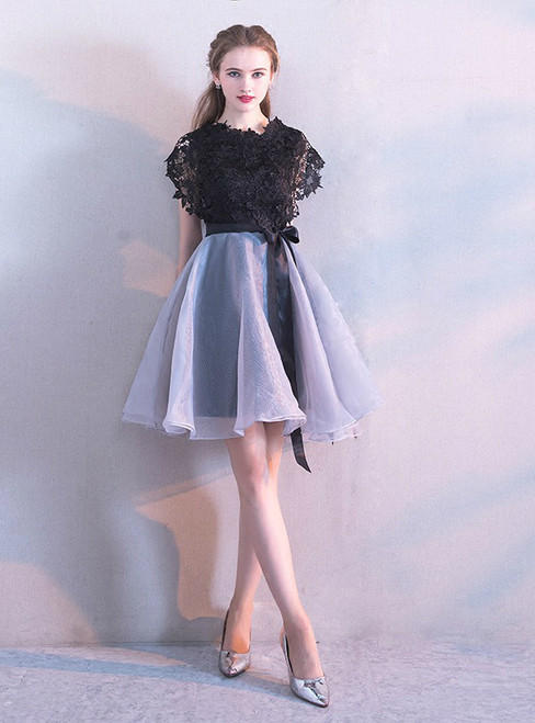 In Stock:Ship in 48 hours Gray Organza Lace Homecoming Dress