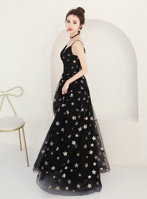 In Stock:Ship in 48 hours Black V-neck Backless Prom Dress