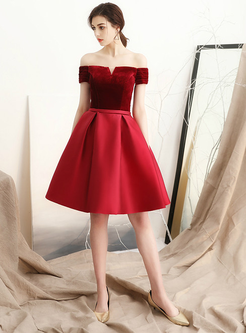In Stock:Ship in 48 hours Burgundy Off the Shoulder Satin Homecoming Dress