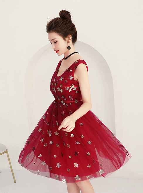 In Stock:Ship in 48 hours Tulle V-neck Backless Homecoming Dress