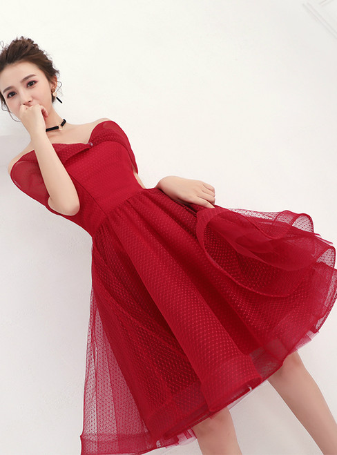 In Stock:Ship in 48 hours Burgundy Off the Shoulder Organza Homecoming Dress