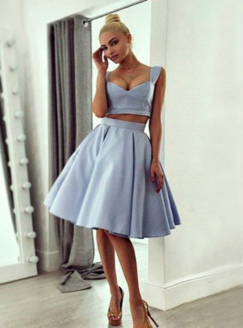 Two Piece Straps Knee-Length Sleeveless Silver Satin Homecoming Dress