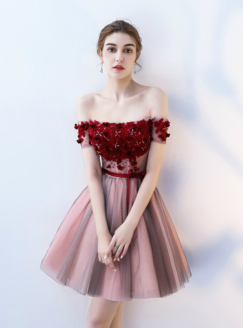 In Stock:Ship in 48 hours Off the Shoulder Tulle Appliques Homecoming Dress