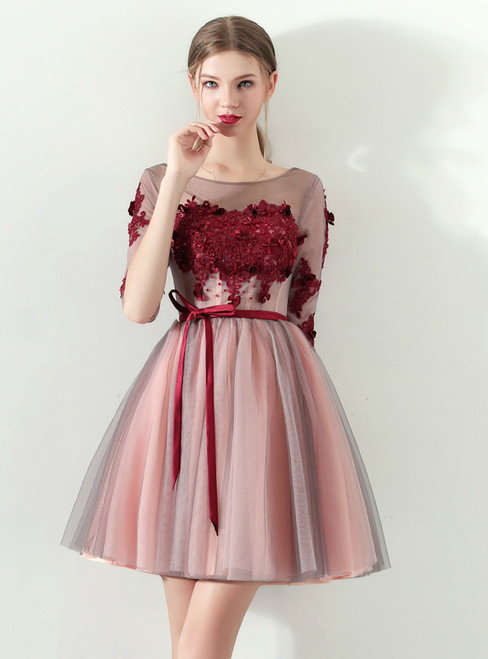 In Stock:Ship in 48 hours Half Sleeve Tulle Appliques Homecoming Dress