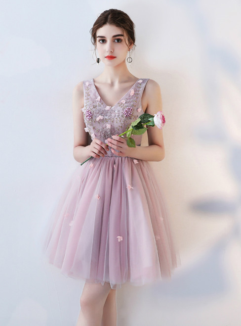 In Stock:Ship in 48 hours Ready To Ship Pink Tulle Homecoming Dress