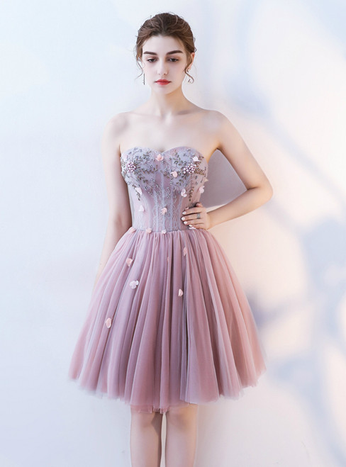 In Stock:Ship in 48 hours Pink Sweetheart Tulle Homecoming Dress