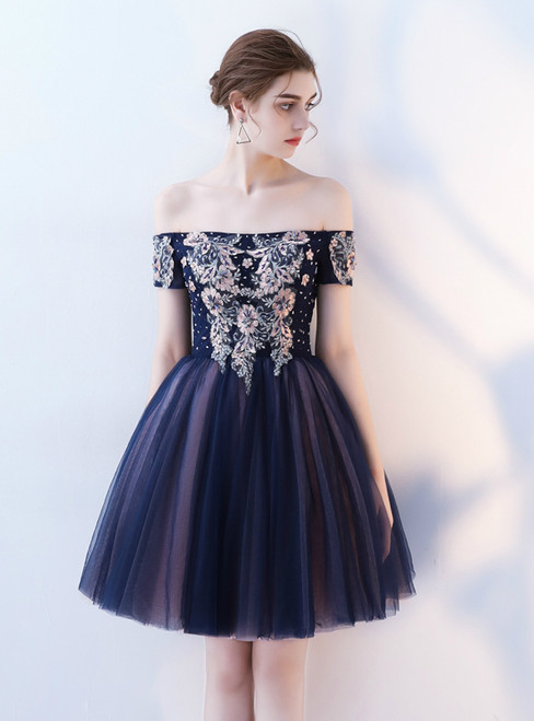 In Stock:Ship in 48 hours Navy Blue Off the Shoulder Homecoming Dress