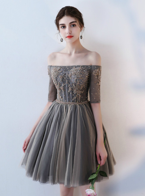 In Stock:Ship in 48 hours Off the Shoulder Short Sleeve Homecoming Dress