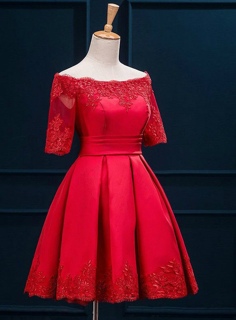 In Stock:Ship in 48 hours Red Off the Shoulder Satin Homecoming Dress
