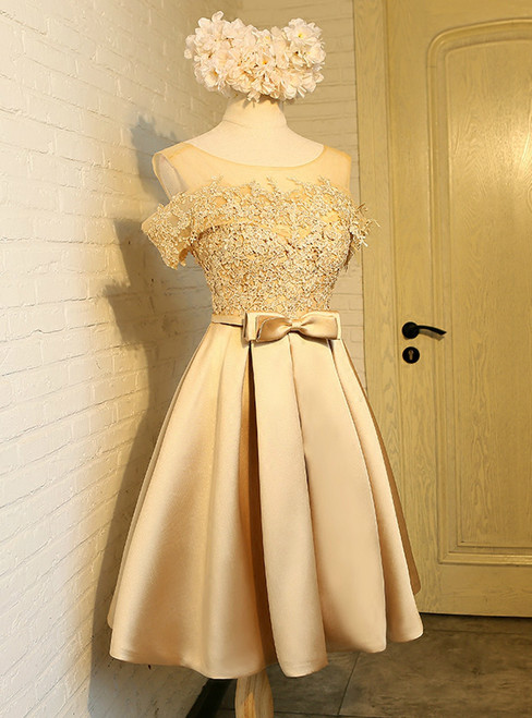 In Stock:Ship in 48 hours Gold Satin Appliques With Bow Homecoming Dress