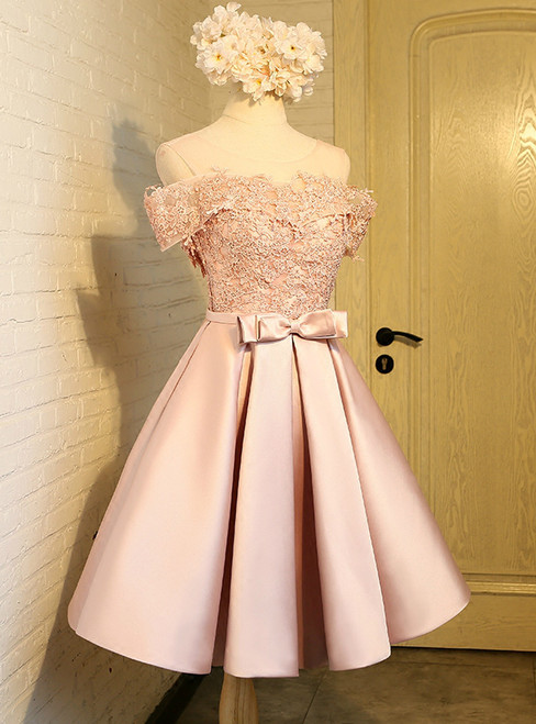 In Stock:Ship in 48 hours Pink Satin Appliques With Bow Homecoming Dress