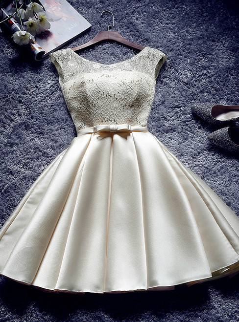 In Stock:Ship in 48 hours Champagne Satin Lace Homecoming Dress