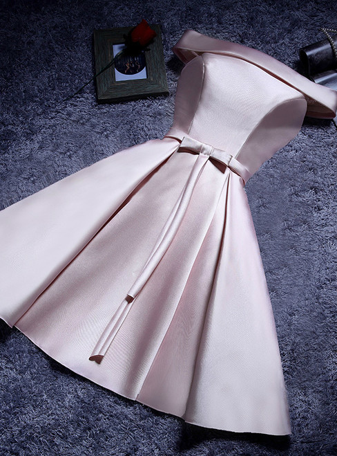 In Stock:Ship in 48 hours Pink Off the Shoulder Satin Homecoming Dress