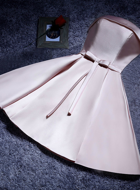 In Stock:Ship in 48 hours Strapless Pink Homecoming Dress