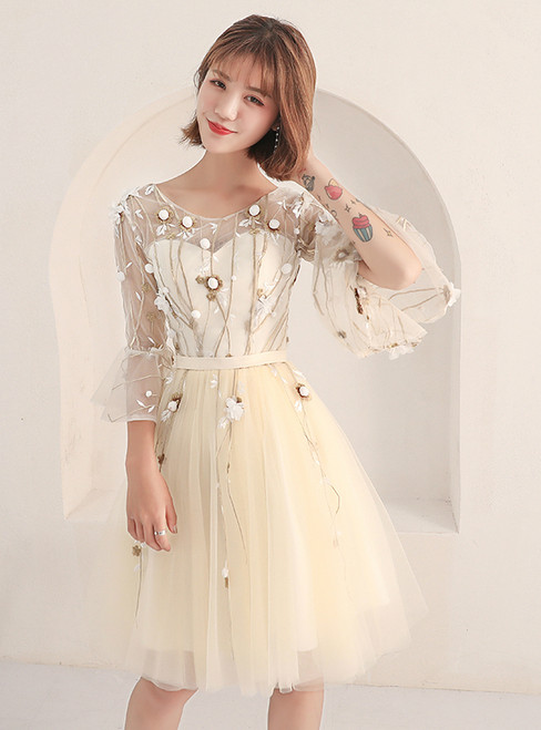 In Stock:Ship in 48 hours Yellow Short Sleeve Homecoming Dress