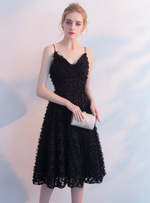 In Stock:Ship in 48 hours Spaghetti Straps Black Lace Prom Dress