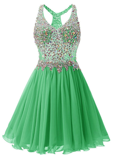 In Stock:Ship in 48 hours Green Chiffon V-neck Homecoming Dress