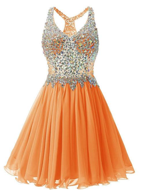 In Stock:Ship in 48 hours Orange Chiffon V-neck Homecoming Dress