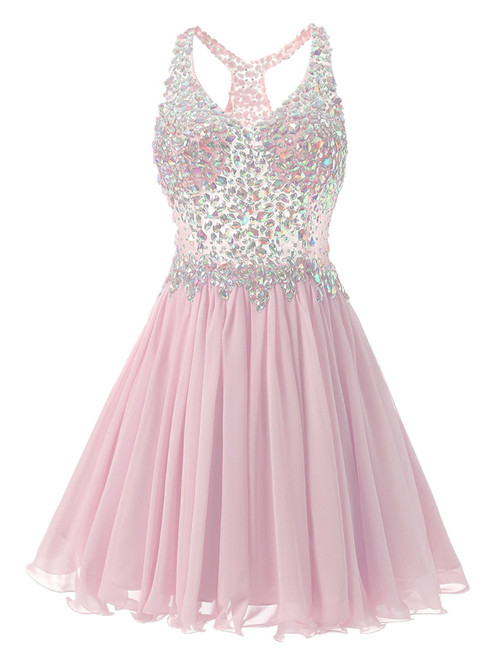 In Stock:Ship in 48 hours Pink Chiffon V-neck Homecoming Dress