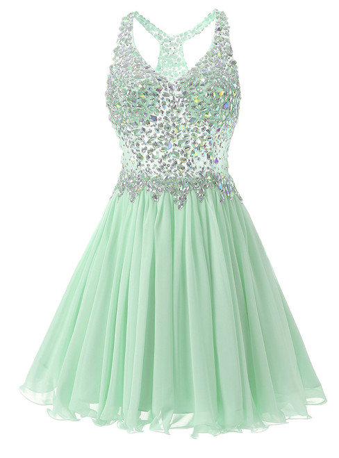 In Stock:Ship in 48 hours Mint Chiffon V-neck Homecoming Dress