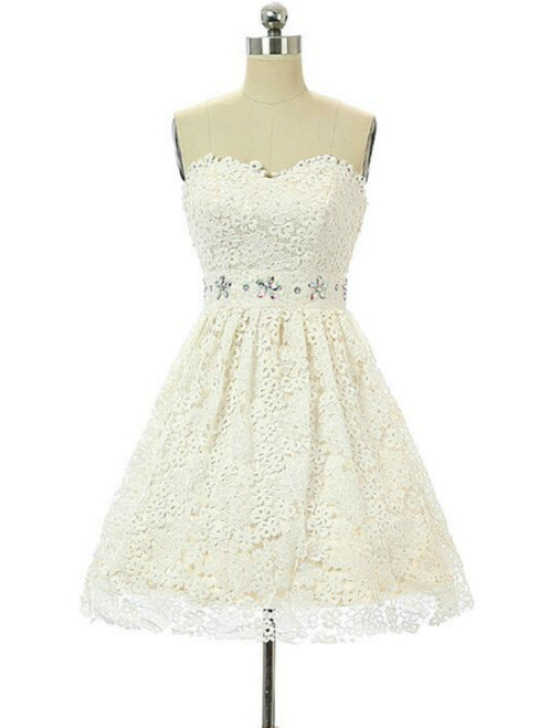 In Stock:Ship in 48 hours White Lace Sweetheart Homecoming Dress