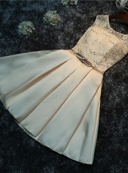 In Stock:Ship in 48 hours Champagne Satin Homecoming Dress