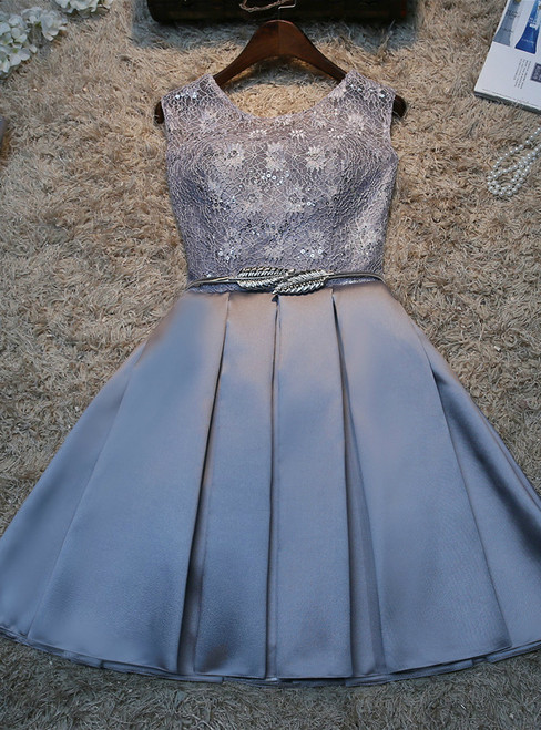 In Stock:Ship in 48 hours Gray Satin Lace Homecoming Dress