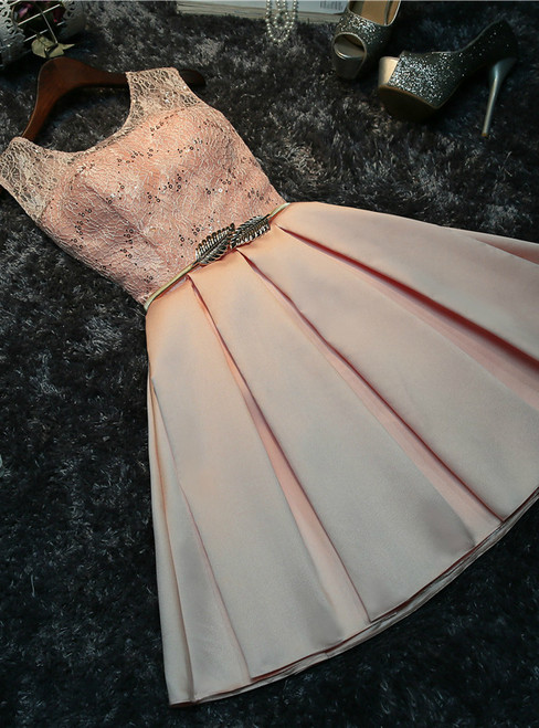 In Stock:Ship in 48 hours Pink Satin Lace Homecoming Dress