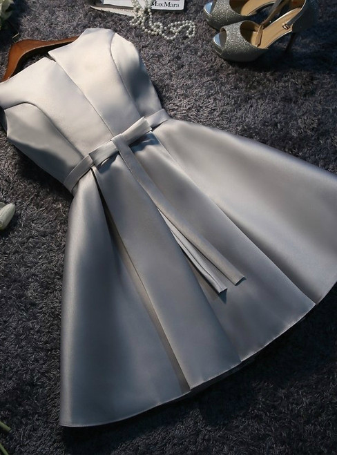 In Stock:Ship in 48 hours Gray Satin Bow Homecoming Dress