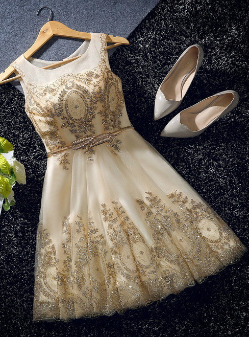 In Stock:Ship in 48 hours Gold Tulle Sequins Bow Homecoming Dress