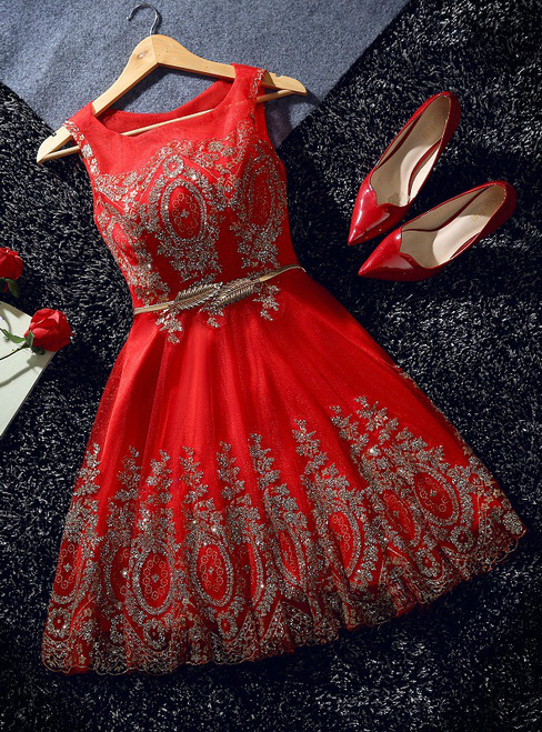 In Stock:Ship in 48 hours Red Tulle Sequins Bow Homecoming Dress