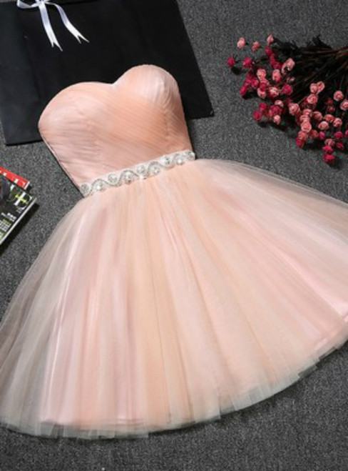 In Stock:Ship in 48 hours Pink Tulle With Crystal Homecoming Dress