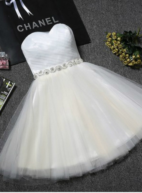 In Stock:Ship in 48 hours White Tulle With Crystal Homecoming Dress