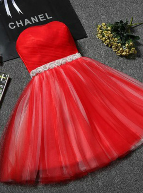 In Stock:Ship in 48 hours Red Tulle With Crystal Homecoming Dress