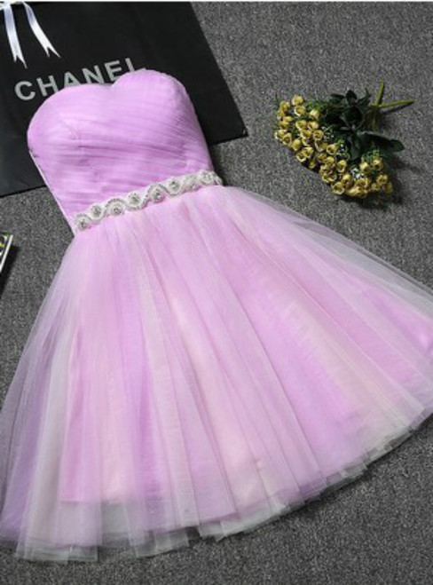 In Stock:Ship in 48 hours Light Purple Tulle With Crystal Homecoming Dress