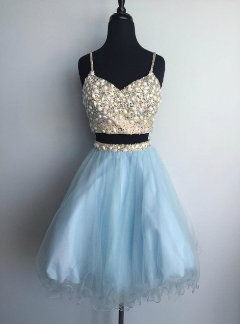 Light blue tulle two pieces beaded short homecoming dress