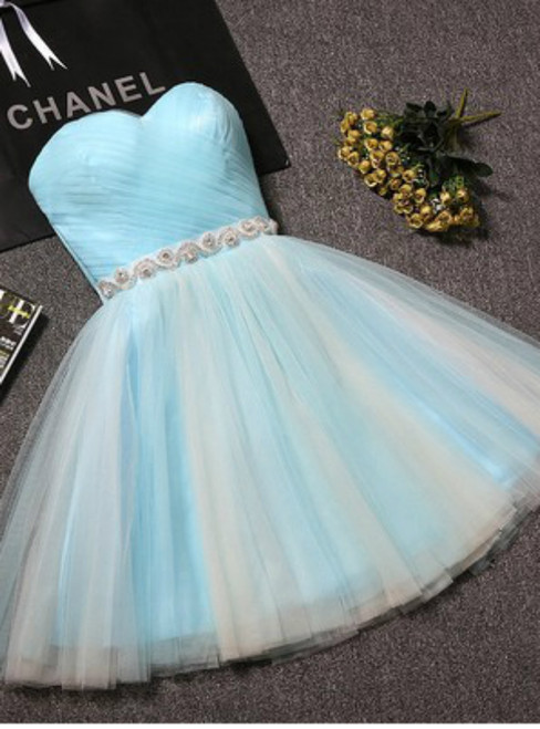 In Stock:Ship in 48 hours Light Blue Tulle With Crystal Homecoming Dress