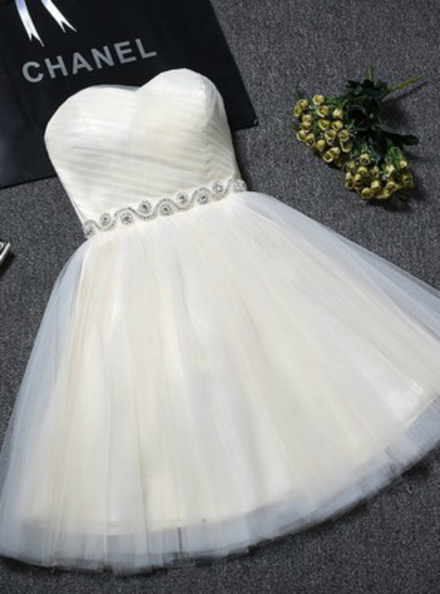 In Stock:Ship in 48 hours Champagne Tulle With Crystal Homecoming Dress