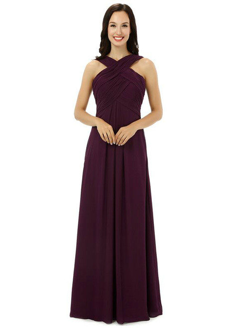 Burgundy Chiffon Halter With Pleats Floor Length Bridesmaid Dress