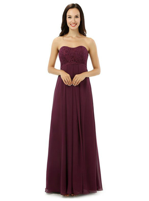 Burgundy Chiffon Lace Sweetheart High Waist Bridesmaid Dress