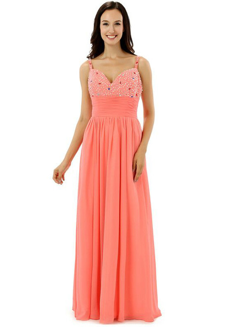 Spaghetti Straps V-neck Chiffon With Beading Bridesmaid Dress