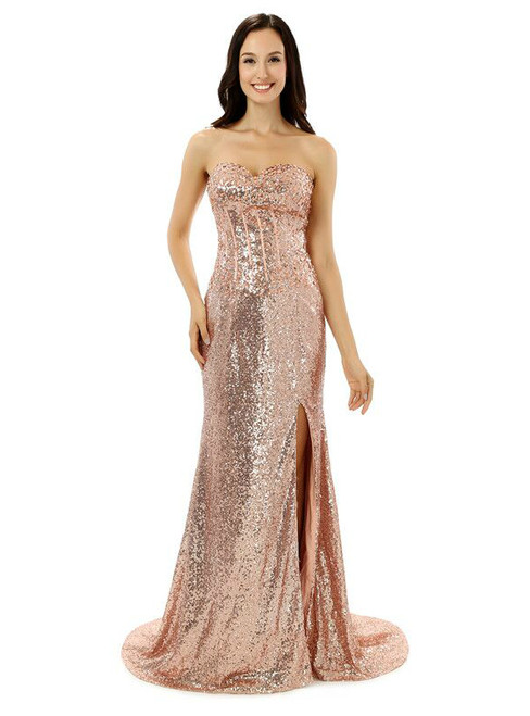 Pink Mermaid Sequins Sweetheart With Side Split Bridesmaid Dress