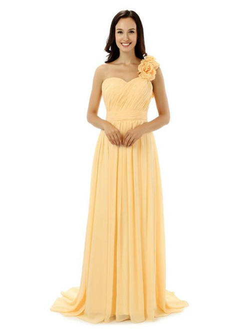 Yellow One Shoulder Chiffon With Pleats Flower Bridesmaid Dress