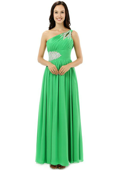 Green One Shoulder Chiffon With Crystal Pleats Bridesmaid Dress