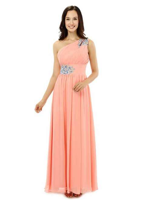 Pink One Shoulder Chiffon With Crystal Pleats Bridesmaid Dress