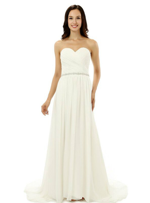 White Chiffon Sweetheart With Beading Pleats Bridesmaid Dress