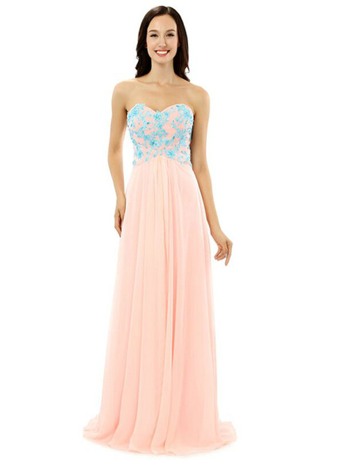 Pink Chiffon Sweetheart Blue Appliques Floor Length Bridesmaid Dress
