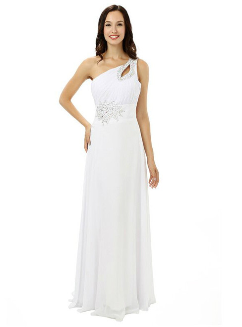 White One Shoulder Chiffon Pleats Beading Bridesmaid Dress