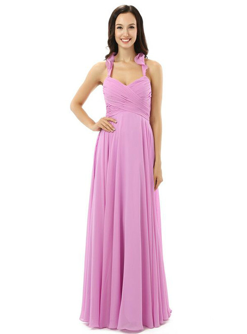 Purple Chiffon Halter Backless With Pleats Bridesmaid Dress